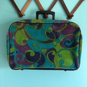 VTG 60s Corduroy Swirl Suitcase